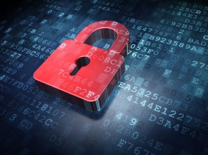 17549827 - privacy concept  red closed padlock on digital background, 3d render
