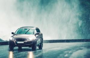 Driving Car in Heavy Rain